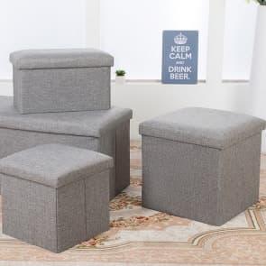 Household Essentials Linen Foldable Storage Box Storage Bin