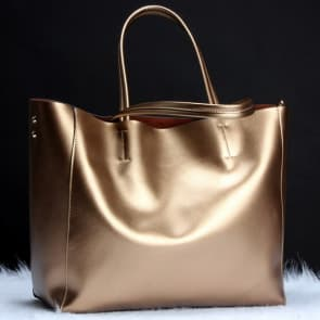 Two-ways Leather Shopper Bag ~ Gold