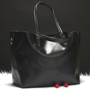 Two-ways Leather Shopper Bag ~ Black