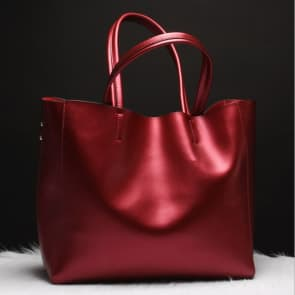 Two-ways Leather Shopper Bag ~ Red