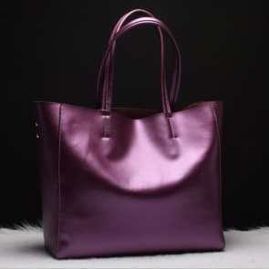 Two-ways Leather Shopper Bag - Purple