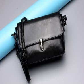 Solid Leather Shoulder Bag ~ Black