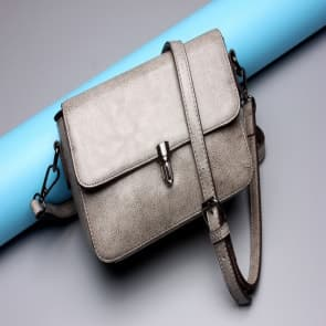 Solid Leather Shoulder Bag ~ Grey