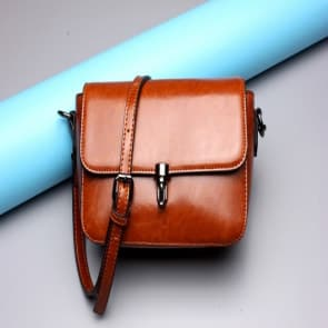 Solid Leather Shoulder Bag ~ Brown