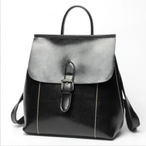 Two-ways Leather School Backpack Bag ~ Black