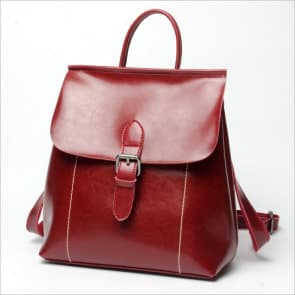 Two-ways Leather School Bag ~ Wine