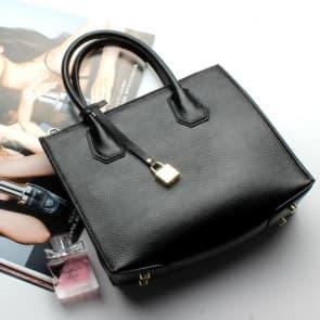 Fashion Trends Leather Lock Bag ~ Black