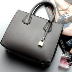 Fashion Trends Leather Lock Bag ~ Grey