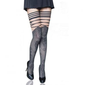 Kady Floral with Striped Pattern Lace Top Knee Socks Stockings