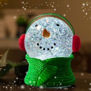 Christmas Snowman Crystal Snow Globe With Lights Decorations