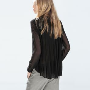 Black Chiffon See Through Back Pleat Long Sleeve Blouse