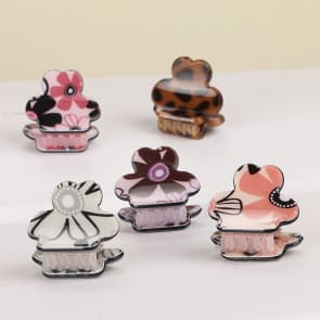 Girl Cute Floral Safari Mini Hair Claw Clip