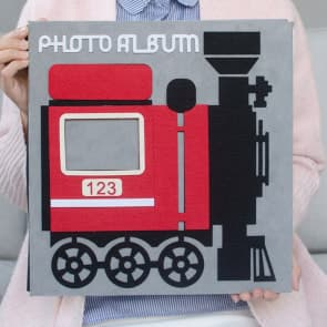 "4R (4x6"") Red & Grey Train Locomotive Family Baby Photo Insert Album book Photo Organizer ~ 400 Photos"