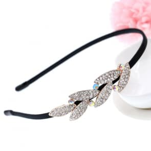 Rhinestone Leaves Shape Bridal Headband