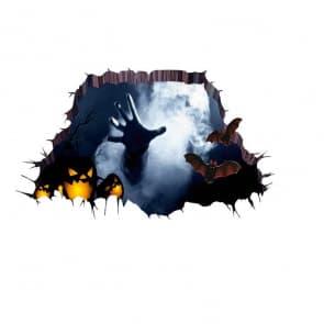 Halloween 3D Black Hole Scary Hand Wall & Floor Sticker Decorations