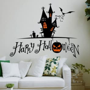 Happy Halloween Mystery House Wall & Window Stickers Party Decorations