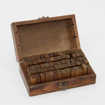 Handwritting Alphabet Rubber Stamp Wooden Box Set
