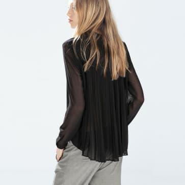 Black Chiffon See Through Back Pleat Long Sleeve Blouse