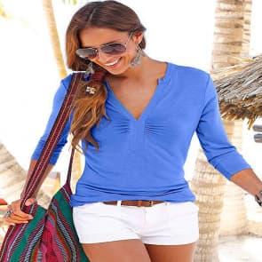 Blue Deep V long Sleeve Blouse Shirt Top