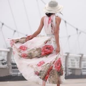 Ladies Floral Print Fly Away Long Maxi Beach Dress