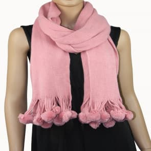 Knitted Pom Mix Wool Scarf - Pink