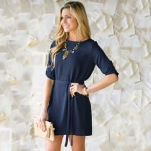 Elegant Foldable Long Sleeve Round Neck Knee Length Dress With Belt