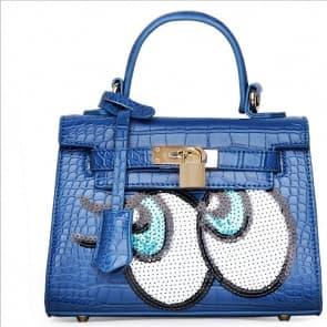 Fashion Big Eyes Tote Bag ~ Blue