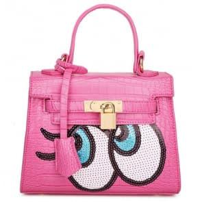 Fashion Big Eyes Tote Bag ~ Fuchsia
