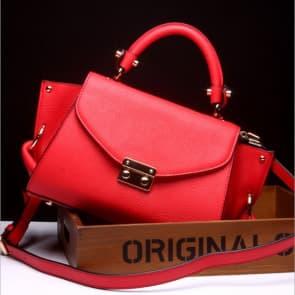 Gold Buckle Leather Shoulder Bag ~ Red