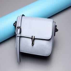 Solid Leather Shoulder Bag ~ Light Blue