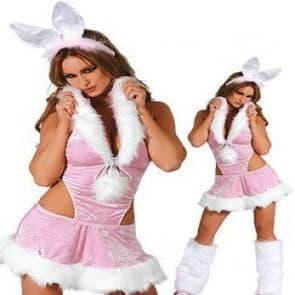 Pink Bunny Girls Cosplay Costume Dress For Adults Halloween Christmas Costume