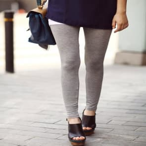 Viscose Knit Jersey Leggings - Heather Grey / Purple / Black