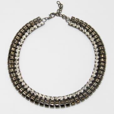 Elegant Black & Diamond Rhinestone Necklace