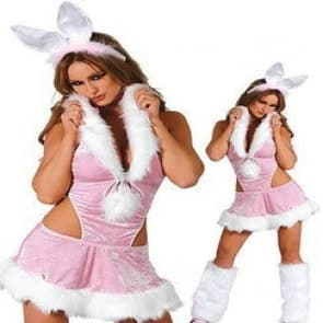 Pink Bunny Girls Cosplay Costume Dress For Adults Halloween Christmas Costume