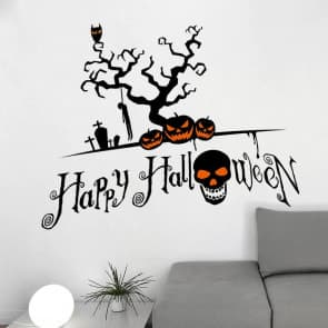 Halloween Pumpkin Light Skulls Wall & Window Stickers Party Decorations