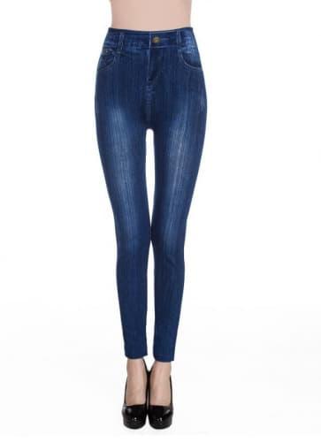 Sandblast Printed Jeans Knitted Spandex Jersey Leggings